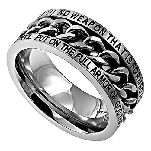 "STAINLESS STEEL Chain Spinner Ring ""NO WEAPON"" ARMOR OF GOD Isaiah 54:17/Ephesians 6:11 - DHS Deals"