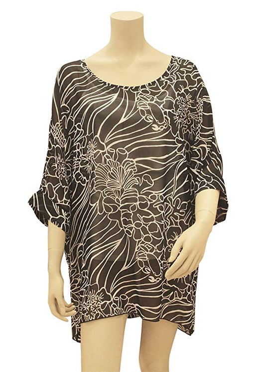 Kai Coral Reef Black Scoop Neck Cover up for The Beach Or a Night Out - DHS Deals