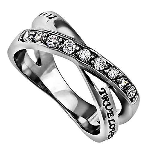 TRUE LOVE WAITS CHRISTIAN Purity & Chastity Ring Stainless Steel Bands - DHS Deals