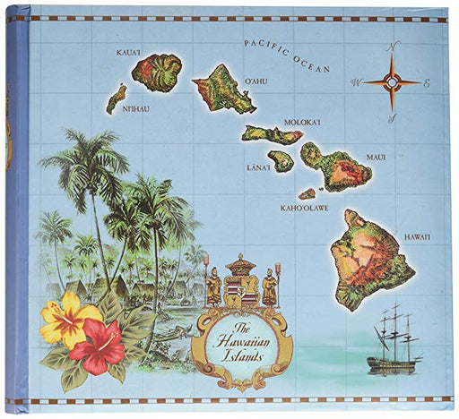 Islands of Hawaii Blue 200-view Hawaiian Photo Album with Lined Memo Area - DHS Deals