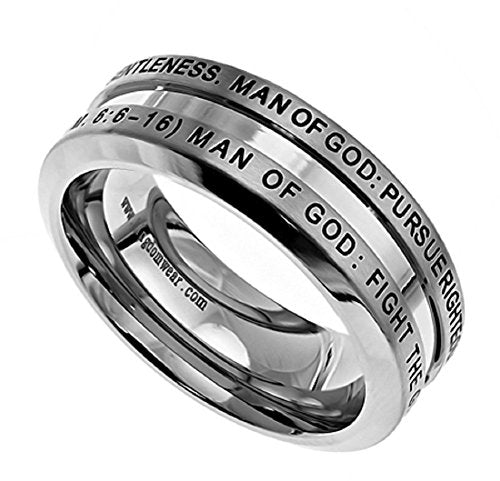 STAINLESS STEEL Industrial Ring MAN OF GOD 1 Timothy 6:6-16, GUYS PURITY RING - Comfort Fit - DHS Deals