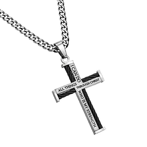 Stainless Steel Cable Cross Necklace for Men, Bible Verse Philippians 4:13 CHRIST MY STRENGTH, Curb Chain - DHS Deals