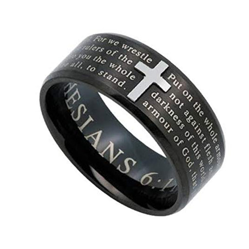 ARMOR OF GOD Jewelry Cross Ring For Men, Black Stainless Steel - DHS Deals