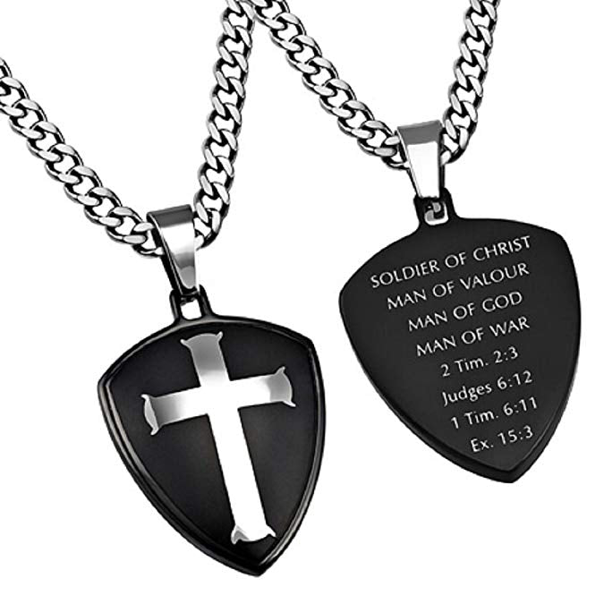 Spirit & Truth Soldier of Christ, Man of God Necklace with High Polished Cross Upgrade Curb Chain - DHS Deals