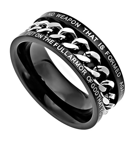 Isaiah 54:17 Stainless Steel Ring, High Polish Spinner Chain, Christian Bible Verse Ring