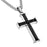 Philippians 4:13 Jewelry Black Cross Necklace Bible Verse, Stainless Steel with Curb Chain (24 Inches) - DHS Deals