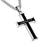 Joshua 1:9 Necklace, MEN Black Steel Cross Pendant, Christian Bible Verse with Stainless Steel Curb Chain - DHS Deals