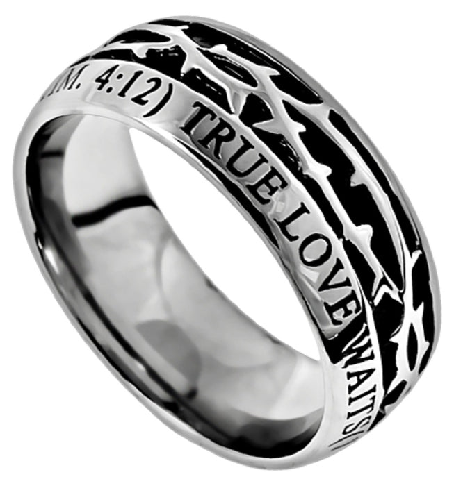 Stainless Steel True Love Waits Crown of Thorns Ring 1 Timothy 4:12 - DHS Deals