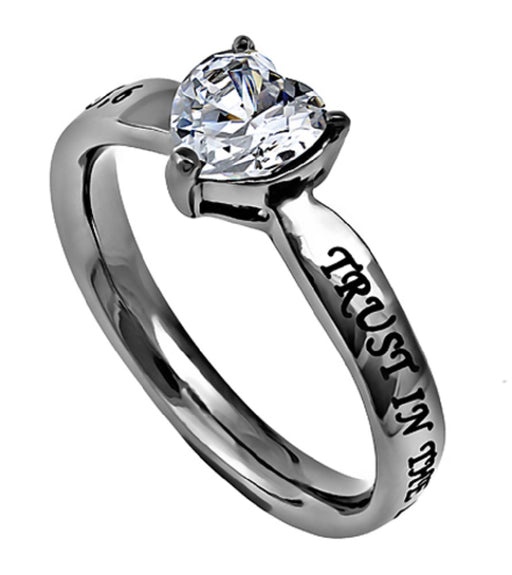 CZ Heart Stone On A Brilliant Stainless Steel Band-Trust Proverbs 3:5, 6