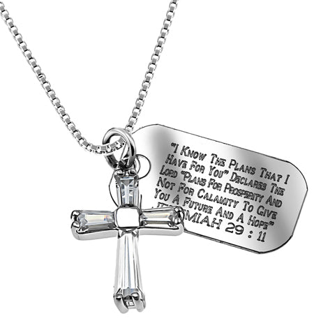 Clear Prism Cross Necklace with Scripture Verse Tag