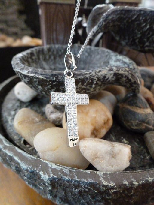 Woman of God Stainless Steel CZ Cross Proverbs 31