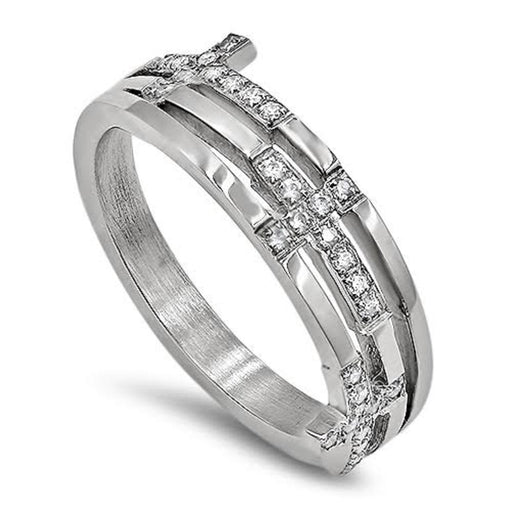 Amazing, Stunning CZ Trinity Cross Ring - Woman of God Proverbs 31