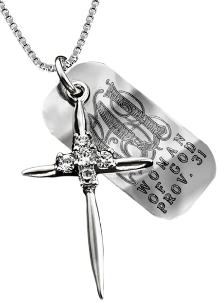 Sterling Silver Star Cross Necklace with Verse Tag