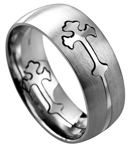 Men's Double Cross Stainless Steel Silver Ring