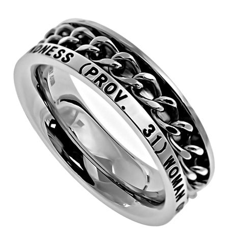 Stainless Steel Brilliant Finish Spinning Chain Ring with Verse-Woman of God Proverbs 31