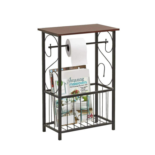 Gramercy Bathroom Table and Stand with Toilet Paper Roll-Bar Holder and Storage Rack - Black Metal Frame with Scroll Design, Walnut Color Wood Top - DHS Deals