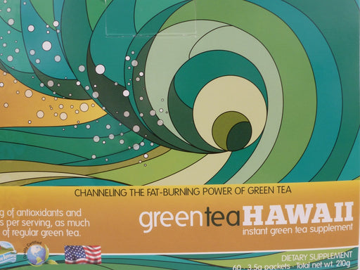 Green Tea Hawaii (Variety Pack) Powder with Noni, 60 Packets, 540 mg of Antioxidants/Polyphenols, All Natural Tasty Drink