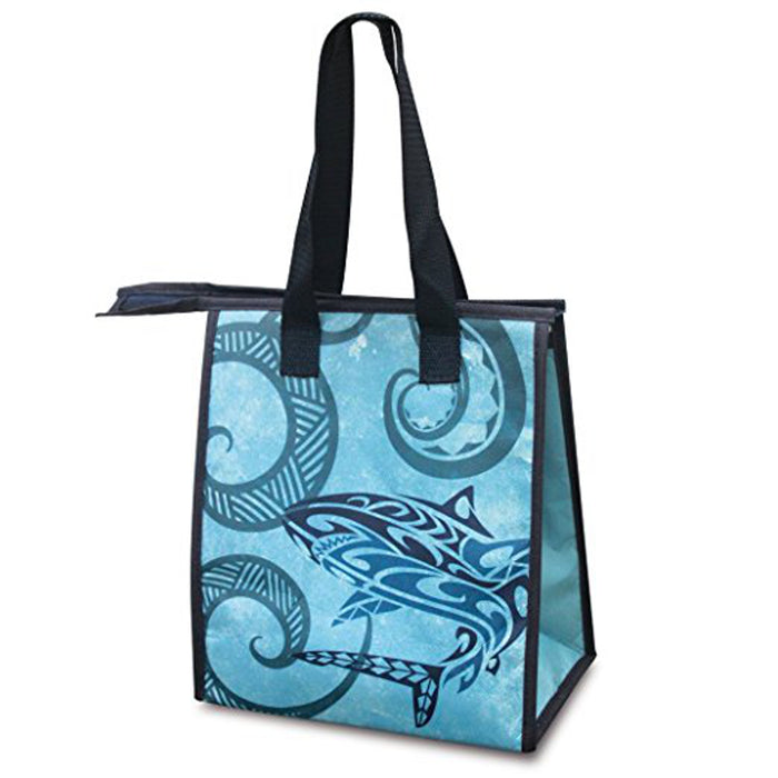Non-woven Insulated Lunch Bag, Features Tribal Shark Theme - DHS Deals
