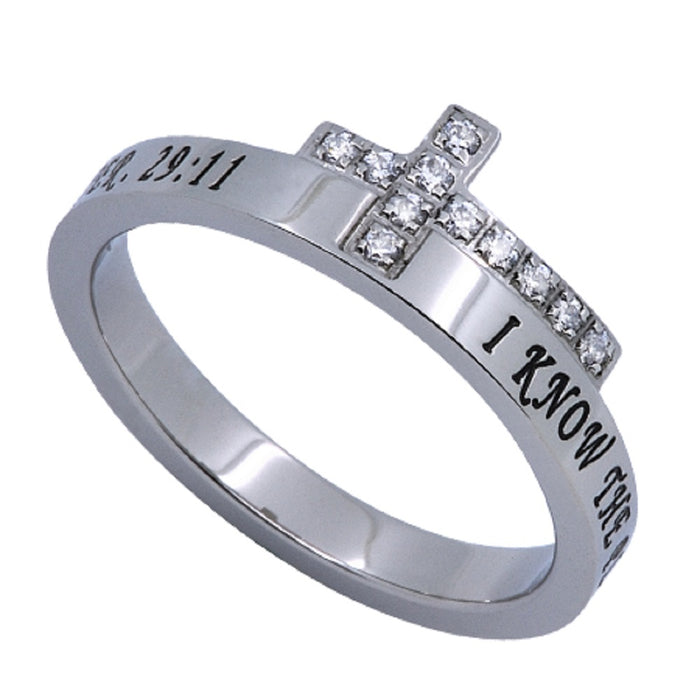 JTC Sideways Cross Ring I Know The Plans-Jeremiah 29:11
