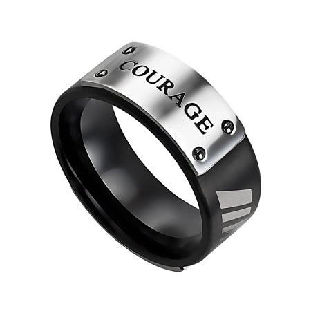 "Stainless Steel Black MLX Ring Shouts ""Courage"" - Joshua 1:9"