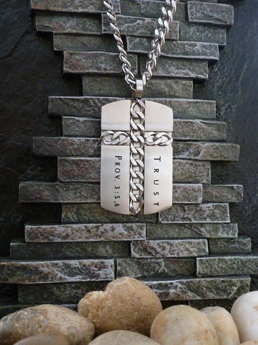 Stainless Steel Dog Tag with Inlayed Chain Cross Verse Trust-Proverbs 3:5, 6