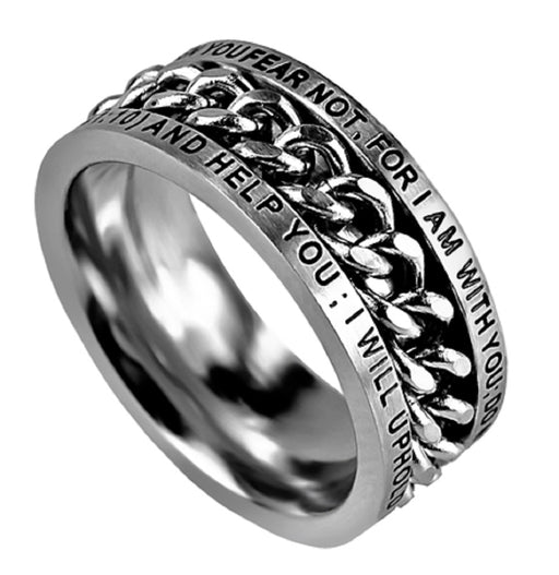 Stunning Stainless Steel Spinning Chain Ring - Fear Not Isaiah 41:10