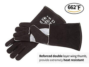 RAPICCA Fireplace Leather Gloves with Kevlar Stitching,Perfect for Wood Stove/Grilling Black 16in