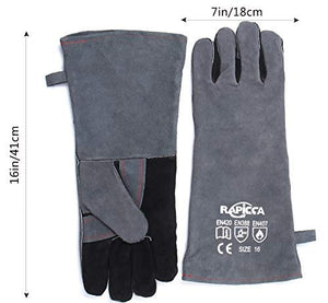 RAPICCA Forge Welding Gloves Grey 16IN Heat Resistant 700°F,Apply for Fireplace/Stove/Furnace/Grill