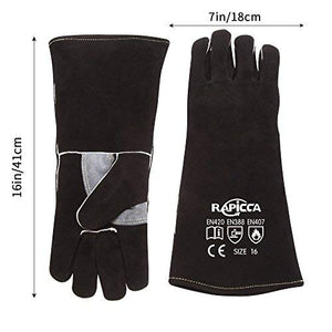 RAPICCA Fireplace Leather Gloves with Kevlar Stitching,Perfect for Wood Stove/Grilling Black 14in