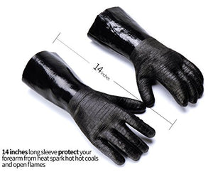 RAPICCA Heat Resistant BBQ Gloves for Smoker/Grill/Deep Frying/Waterproof & Oil Resistant 14in 700°F