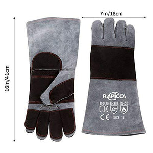 RAPICCA Leather Animal Handling Gloves Bite Proof for Dog,Cat Scratch,Bird, Falcon,Reptile Snake