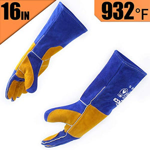 RAPICCA Forge Welding Gloves Blue 16IN Heat Resistant 932°F,Apply for Fireplace/Stove/Furnace/Grill