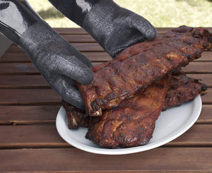 RAPICCA Heat Resistant BBQ Gloves for Smoker/Grill/Deep Frying/Waterproof & Oil Resistant 17in 932°F