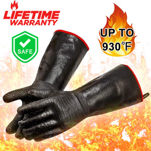 RAPICCA Heat Resistant BBQ Gloves for Smoker/Grill/Deep Frying/Waterproof & Oil Resistant 14in 932°F