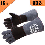 RAPICCA Forge Welding Gloves Grey 16IN Heat Resistant 932°F,Apply for Fireplace/Stove/Furnace/Grill