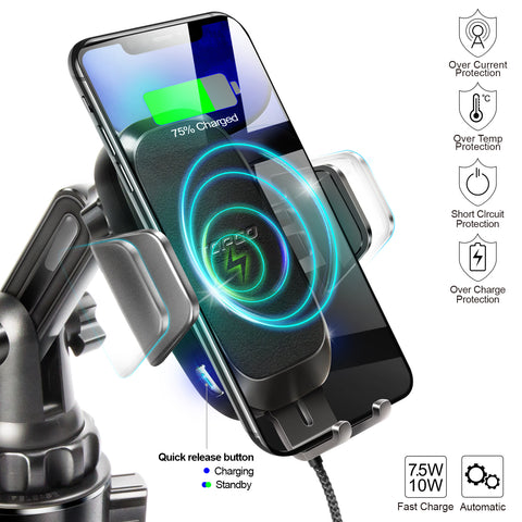 TOPGO Wireless Charger Cup Holder Phone Mount