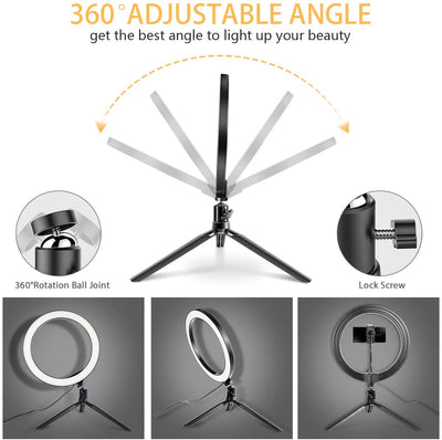 "LED Ring Light - 10"" Selfie Ring Light with Tripod Stand & Phone Holder丨TOPGO"