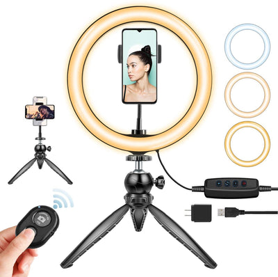 "[Upgraded] 10"" LED Ring Light with Tripod & Phone Holder (U2 version)"