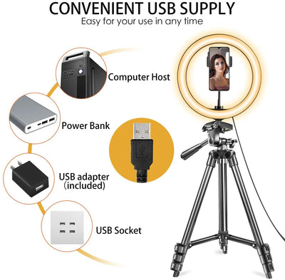"10"" LED Ring Light with Tripod Stand & Phone Holder (tall)"