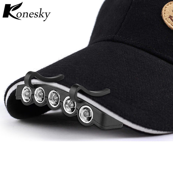 Outdoor Night Safe. A Convenient Headlamps that Clip-On with 5-LED Head Lights and Hands-free Cap Hat Clip Lamp Flash / Steady ON