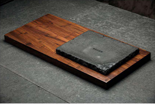 Wide Heavy Bamboo and Stone Tea Board