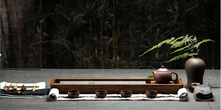 Medium Sized Heavy Bamboo and Stone Tea Board