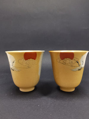Handpainted Crane woodfired cup