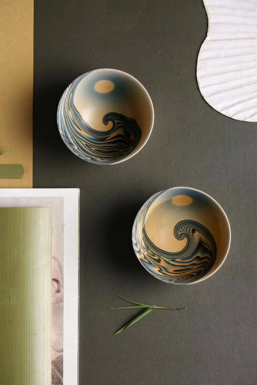 Wedged Clay Wave and Moon Personal Cup