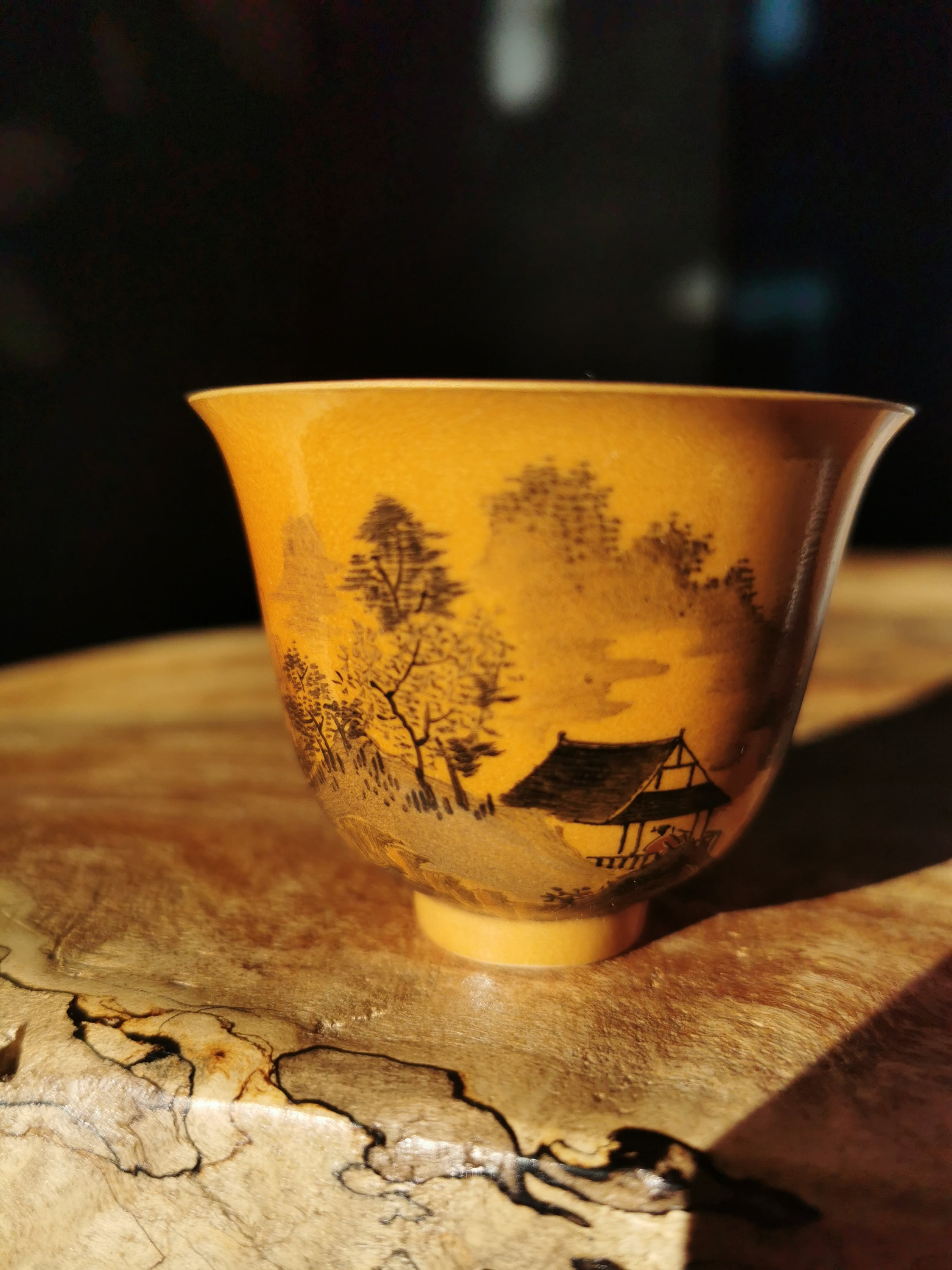 Handpainted mountain and river woodfired cup