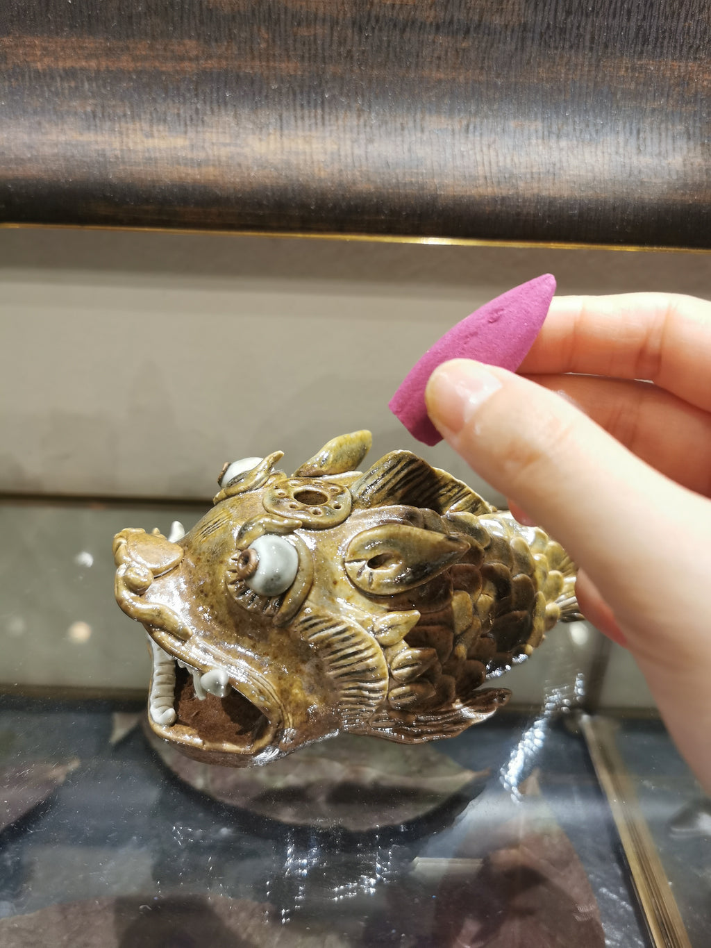 Dragon fish glazed incense burner & tea figure