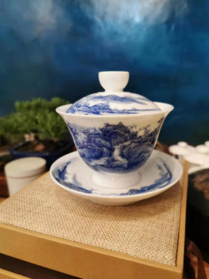 Zhonggong Mountain and River Qing hua (blue flowers) Gaiwan