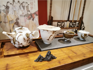 Ceramic Mountain Rock Tea Spoon Holder and Tea Board Decoration