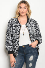 Plus size light wight animal print bomber jacket with a zipper closure.