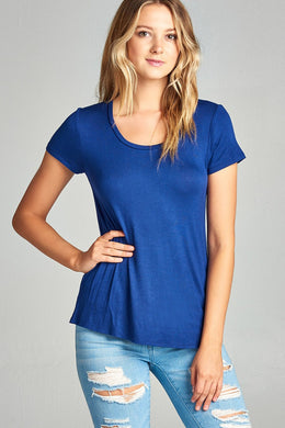 Ladies fashion short sleeve scoop neck top